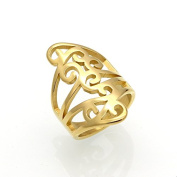 Women Rings Stainless Steel Hollow Out Rings Knuckle Flower Style Gold Colour Fashion Cocktail Party Jewellery Best Gift