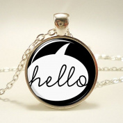 Hello Necklace, Black Jewellery, Cute Pendant