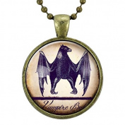 Halloween Bat Necklace, Black Vampire Bat Jewellery, Pendant