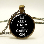 Keep Calm And Carry On Pendant, Black Charm With Necklace, Bronze