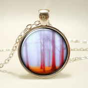Tree Necklace, Misty Forest In The Fog Pendant, Woodland Nature Jewellery