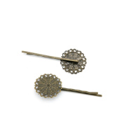 Price per 10 Pieces Jewellery Making Supply Charms Findings Filigrees P9YL7V Flower Hairpin Antique Bronze Findings Beading Craft Supplies Bulk Lots