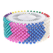 Pengxiaomei Head pins, 480 Pcs Colours Round Pearl Straight Head Pins Dressmaking Sewing Pins