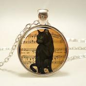Black Cat Necklace, Halloween Jewellery
