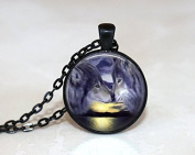 Wolf Necklace ,Glass Tile Necklace, Glass Tile Jewellery ,Black Jewellery Wolf Jewellery,Animal Jewellery