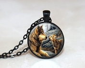 Glass Tile Necklace ,Wolf Necklace, Glass Tile Jewellery, Animal Jewellery, Black Jewellery, Wolf Jewellery ,Jewellery
