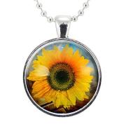 Sunflower Necklace, Botanical Jewellery, Flower Pendant