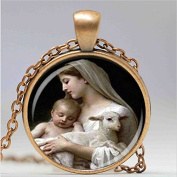 nativity pendant, virgin mary jesus and lamb glass necklace, religious necklace, fashion jewellery