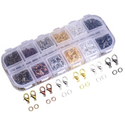 Dcatcher Mixed Colour Lobster Claw Clasps and Open Jump Rings with Case for Jewellery Making Findings Purses
