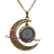 New Moon Necklace,Cheshire Mandala Flower Logo Pendant Necklace For Women Men Silver Plated Chain Long Necklace Vintage Necklace,AE0043