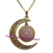 New Moon Necklace,mandala necklaces chakra pendant OM jewellery for women glass cabochon pendants Zen gifts jewellery vintage,AE0041