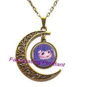 New Moon Necklace,Purple Cute Baby Hedgehog Pendant Choker Statement Silver Necklace For Women Dress Accessories-Abaicer Jewellery,AE0039