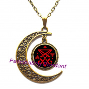 New Moon Necklace,Occult Sigil of Lucifer Satanic Pendant Statement Necklace Cheap Jewellery Collar Small Gift,AE0037