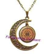 New Moon Necklace,Sri Yantra Decal mandala Pattern mandala Pendant Glass Cabochon Glass Necklace Galaxy Pendant Round Glass Necklace,AE0014