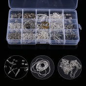 Jewellery DIY Starter Kit, Silver Plated Jewellery Braclets Necklace Chains Clasps+ Pliers+ Cord String