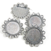 Price per 60 Pieces Silver Tone Jewellery Making Charms Supply D3HP8 Pinback Round Cabochon Brooch