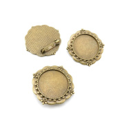 Price per 5 Pieces Jewellery Making Supply Charms Findings Filigrees J6FO5B Pinback Cabochon Frame Blanks Antique Bronze Findings Beading Craft Supplies Bulk Lots