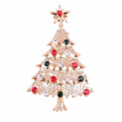 Hosaire Brooch Pin Christmas Tree Corsage Scarf Pin Rhinestones Breastpin for Wedding/Banquet/Bouquet