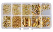 Approx 200 Pcs Golden Mixed Metal Jewellery Making Kits - 1 Box DIY Handmade Materials Accessories Kit