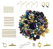 Purple & Gold Metallic Mixed Bead & Findings Kit ~