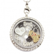 Infinity Love Pugs 30 mm Floating Charm Locket on 30 inch Necklace