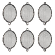 Dcatcher 24 PCS Bezel Pendant Trays Double Loops Oval Cabochon Settings Trays Pendant Blanks, Silver