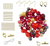 Red & Gold Tone Bead & Findings Kit ~