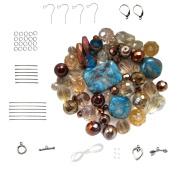 Blue ~ Copper ~ Beige Bead Kit & Findings