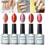 FairyGlo Well-Picked 5 Colour Combo Glitter Gel Nail Polish UV LED Soak Off Shimmer Manicure Stareter Kit Mirror Finish Gorgeous Pro Nail Art Collection Gift Set 10ml 018