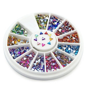 KADS AB 1.53MM Triangle Colourful Rhinestones 600 Piece 17 Colour Nail Art Nailart Manicure Wheels
