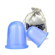 Anti cellulite Body Massage Suction Silicone Cup Cupping Therapy Set DeiSana 2pcs Large & Medium BLUE