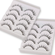False Eyelashes,TianQin WY 10 Pairs Fake Eyelashes Handmade Messy Natural 3D Eye Lashes Cross Fashion Extension For Makeup