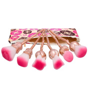 Rose Makeup Brushes Set, Iskas 6pcs Enchanted Flower Shape Make Up Tools with Bag Face Powder Foundation Blush Brush Blending Concealer Contour Cosmetics Beauty Kit - Rose Gold