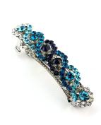 Women's Rhinestone Metal Hair Barrette Clip Hair Pin Antique Silver IMB2100, Blue