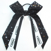 Cheerleading Soft Touch Sequin Hair Bow, Made in the USA, Avail in Many Colours, Black Pony Band,