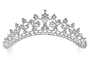Rhinestone Pageant Princess Tiara Crown - Clear Crystal Silver Plating T1272