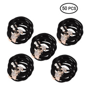 TS 50PCS Black Cute Girls Hair Tie Heart Bands Ropes Ponytail Holder