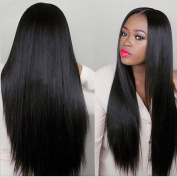 KRSI Long Silky Straight Synthetic Wigs for Black Women Heat Resistant Middle Part Natural Black Fluffy Lolita Cosplay Costume Party Non-Lace Full Wigs With Real Looking+Free Wig Cap