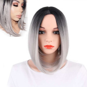 KRSI Short Straight Ombre Grey Bob Wigs for Black Women Natural Hair Grey Wigs for Women Middle Part Heat Resistant Synthetic Full Wigs+Free Wig Cap