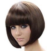 Short Straight Flat Bangs Bob Wigs Sexy Stylish Cosplay Party Hair Wigs (Dark Brown) 003BW