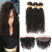 Brazilian Kinkys Curly Virgin Hair With Lace Frontal Closures 13X4 Tight Curl Bleached Knots Silk Frontal Free Part All Curly Hair Natural Colour 16 18 20 + 14