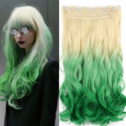 Neverland Beauty 60cm One Piece Clip in Triple Ombre Three Tone Synthetic Curly Wavy Hair Extensions Blonde to Light Green to Green #8