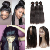 Ashimary 360 Lace Frontal Brazilian Straight Hair 3 Bundles with 360 Frontal Lace Closure Straight Brazilian Hair with 360 Closure Straight Virgin Hair 18 20 22 with 36cm Frontal 360 Natural Colour