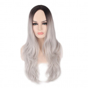 OBeauty Comic and Animate 2 Tones Layered Big Wavy Wig Gradient Colour Women Cosplay Party Costume Long Natural Straight and Long Curly Wavy Hair Heat Resistant Spiral Wig Sets