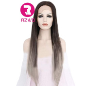 RZWD Lace Front Wigs-Long Natural Straight Hair Ombre Brown To Grey -Syntheic Hair-Hair Fibre Wigs for women 60cm