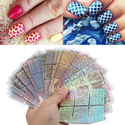Putars 24 Sheets New Nail Hollow Irregular Grid Stencil Reusable Manicure Stickers