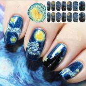 MEIQING Gogh's Starry Night Full Nail Art Stickers Fullnail Wraps ,14 Decals/sheet Set