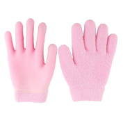 Moisturising Gloves - Pink Soft Yarn Thermoplastic Gel Whitening Beauty Healthy Spa Skin Care Therapy Treatment Hydrating Gloves, Gel Lining Infused with Essential Oils and Vitamins