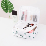 Yiuswoy Multifunction Travel Cosmetic Bag Portable Makeup Case Toiletry Storage Organiser with Mesh Pockets - Cactus