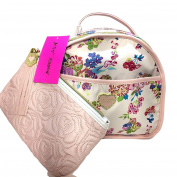 Betsey Johnson 2 Pc Train Case Cosmetic Bag Floral Blush